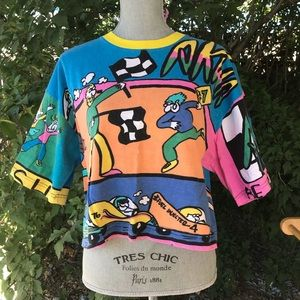 Vintage 80's AKWA Printed Shirt T-Shirt Cropped L